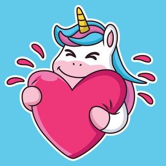 Expression cute licorne cartoon donne de l'amour