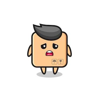 Expression déçue du dessin animé de la boîte en carton, design de style mignon pour t-shirt, autocollant, élément de logo