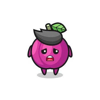 Expression déçue du dessin animé de fruits aux prunes, design de style mignon pour t-shirt, autocollant, élément de logo