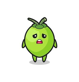 Expression déçue du dessin animé de noix de coco