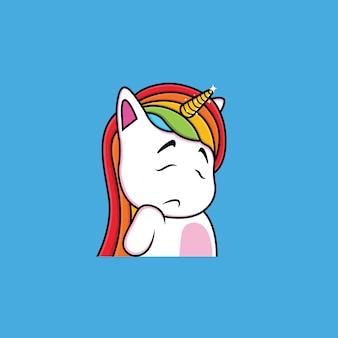 Expression de dessin animé de licorne timide