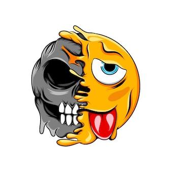 L'expression du visage de clin d'œil et de mou change en émoticône de crâne de mort de rire normal
