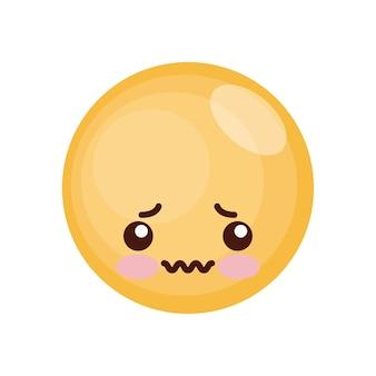 Expression du visage kawaii isolé
