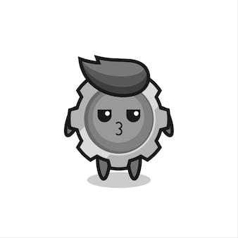 L'expression ennuyée de personnages d'engrenages mignons, design de style mignon pour t-shirt, autocollant, élément de logo