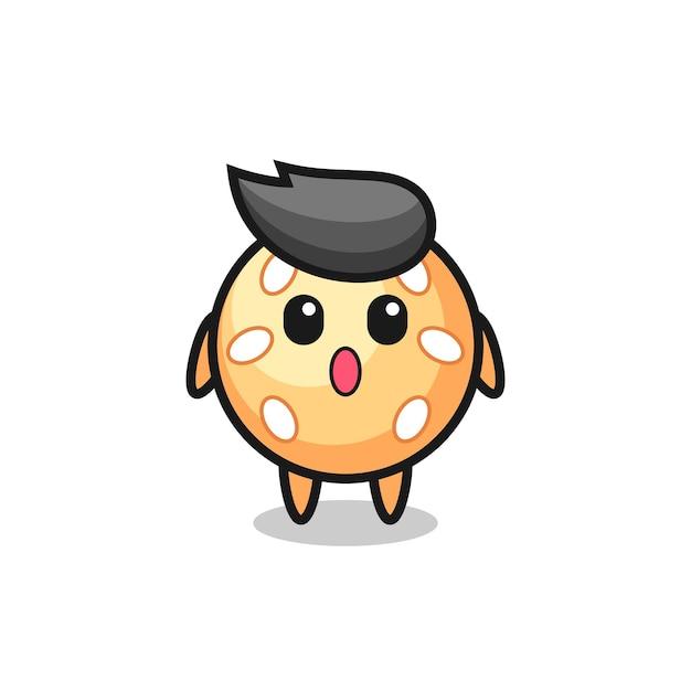 L'expression étonnée du dessin animé de boule de sésame, design de style mignon pour t-shirt, autocollant, élément de logo