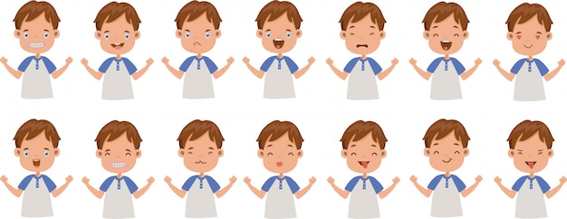 Expression faciale de l'ensemble des émotions faciales du garçon.