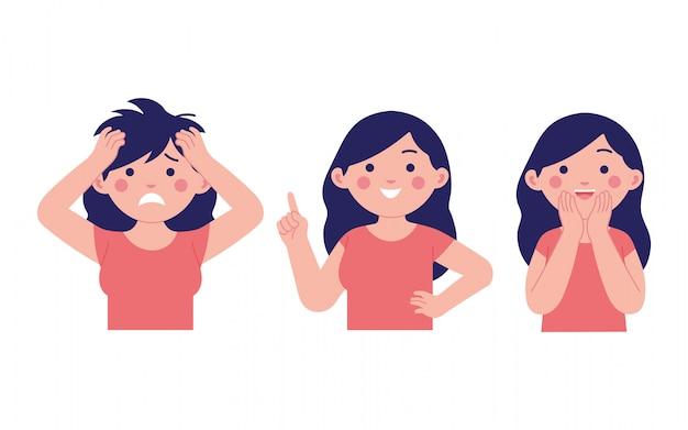 Expression de fille diverse, heureuse, surprise et choquée