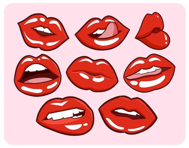 Expression de lèvres de femme chaude rouge dans un style simple doodle