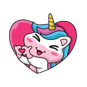 Expression de licorne dessin animé mignon sur fond d'amour