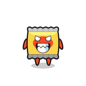 Expression maléfique du personnage de mascotte mignon de collation, conception de style mignon pour t-shirt, autocollant, élément de logo