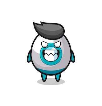 Expression maléfique du personnage mascotte mignon de fusée, design de style mignon pour t-shirt, autocollant, élément de logo