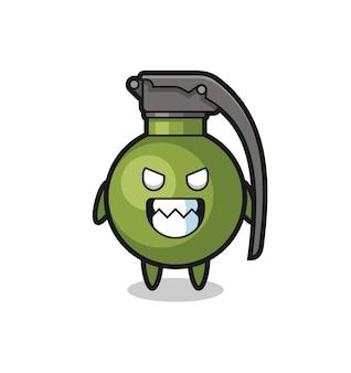 Expression maléfique du personnage mascotte mignon de grenade, design de style mignon pour t-shirt, autocollant, élément de logo