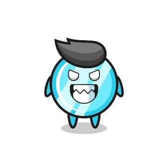 Expression maléfique du personnage de mascotte mignon miroir, design de style mignon pour t-shirt, autocollant, élément de logo