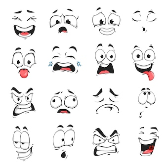 Expression de visage isolé icônes vectorielles, emoji drôle de bande dessinée épuisé, pleurant et fou, en colère, riant et triste
