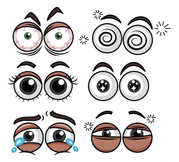 Expression des yeux humains sur fond blanc