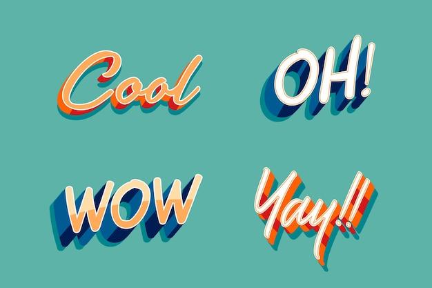Expressions et collection de lettres onomatopées dans un style rétro