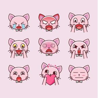 Expressions de dessin animé de chat