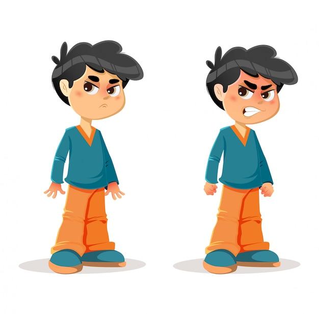 Expressions du jeune garçon en colère agacé