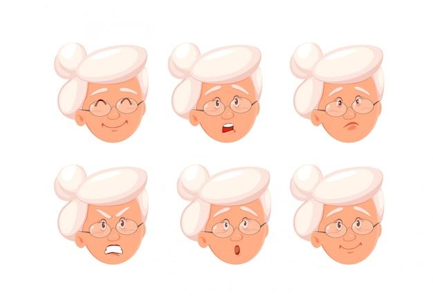 Expressions du visage de grand-mère.