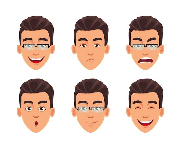 Expressions du visage de l'homme d'affaires
