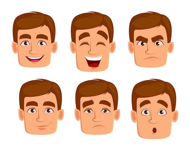 Les expressions du visage de l'homme aux cheveux bruns.