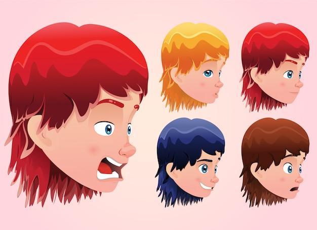 Expressions du visage pour mignon petit garçon avec une coiffure