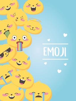 Les expressions emoji de médias sociaux font face à des coeurs d'amour de dessin animé poster