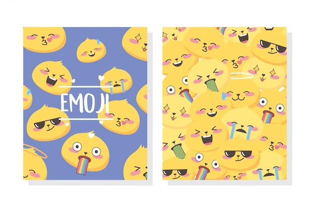 Les expressions d'emoji de médias sociaux font face à la conception de bannières de collection de dessins animés