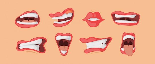 Les expressions faciales de la bouche sont définies dans le style de dessin animé.