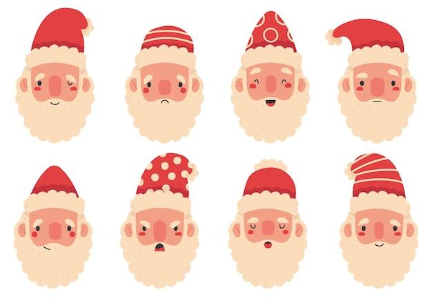 Expressions faciales des mascottes mignonnes du père noël de noël. vacances d'hiver santa claus têtes barbues vector illustration set. visages heureux et tristes d'émotion de santa claus de bande dessinée