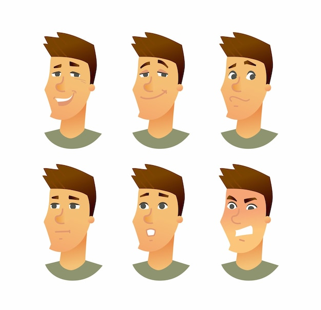 Expressions faciales masculines illustration de personnages de dessins animés d'affaires vecteur moderne