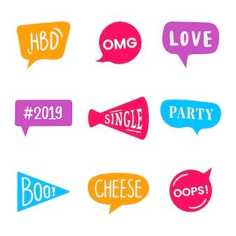Expressions de mot définies pour vecteur d'accessoires fête photo booth