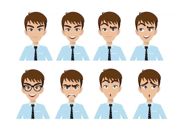 Expressions de visage de bel homme d'affaires