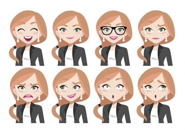 Expressions de visage de belle femme d'affaires