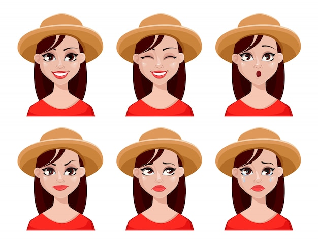 Expressions de visage de femme d'agriculteur au chapeau
