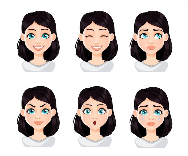 Expressions de visage de femme aux cheveux noirs