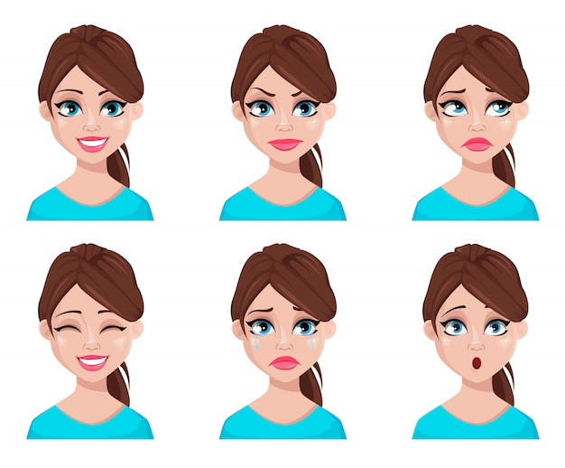 Expressions de visage de femme en blouse bleue