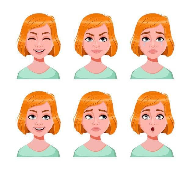 Expressions de visage de femme rousse mignonne
