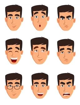 Expressions de visage d'un homme d'affaires
