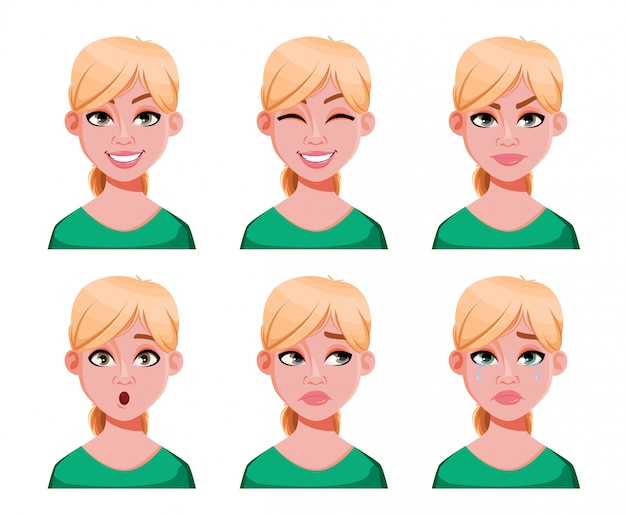 Expressions de visage de jolie femme blonde