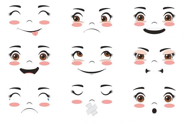 Expressions de visage kawaii