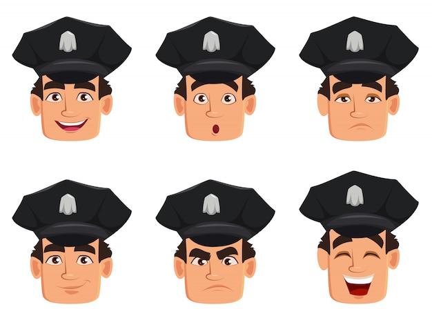 Expressions de visage d'un officier de police, policier