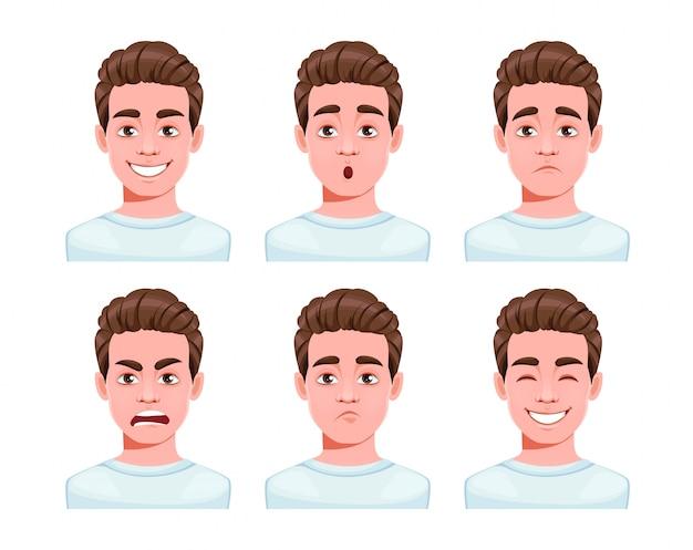 Expressions de visage de personnage de dessin animé de bel homme