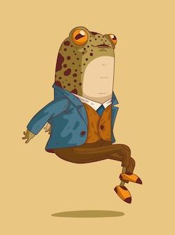 L'exquise grenouille monsieur flotte gracieusement dans les airs