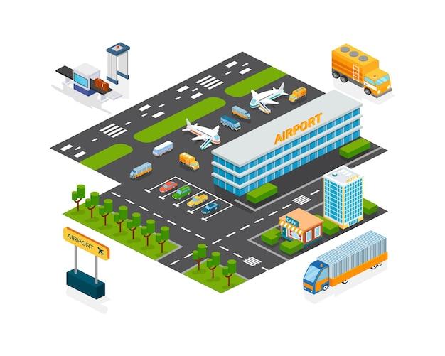 Extérieur de bâtiment isométrique d'infrastructure de façade d'aéroport pour le transport d'affaires et de voyage