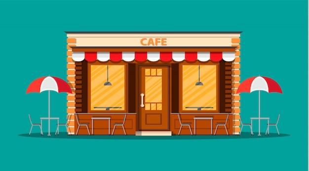 Extérieur de boutique de café. bâtiment de restauration de rue.