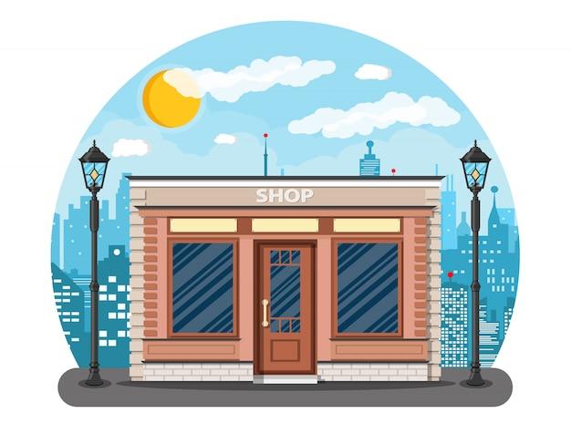 Extérieur de boutique générique sur la rue de la ville