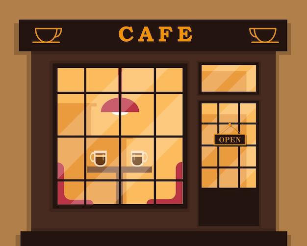 Extérieur de café ou bâtiment de café.