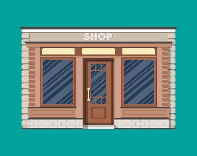 Extérieur de magasin générique. matériau bois et briques.