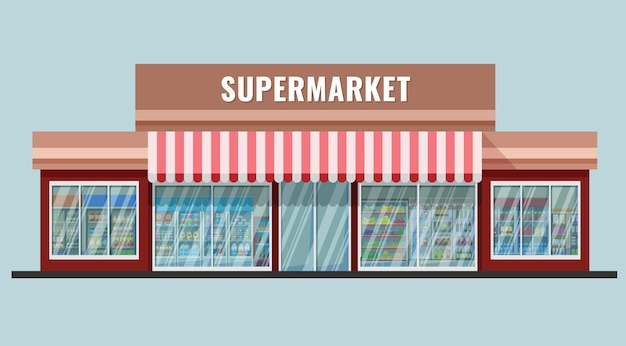 Extérieur de supermarché de style catroon plat avec étagères et réfrigérateurs vu dans les fenêtres